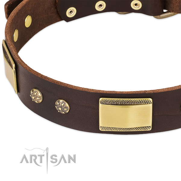 Corrosion resistant D-ring on full grain genuine leather dog collar for your four-legged friend