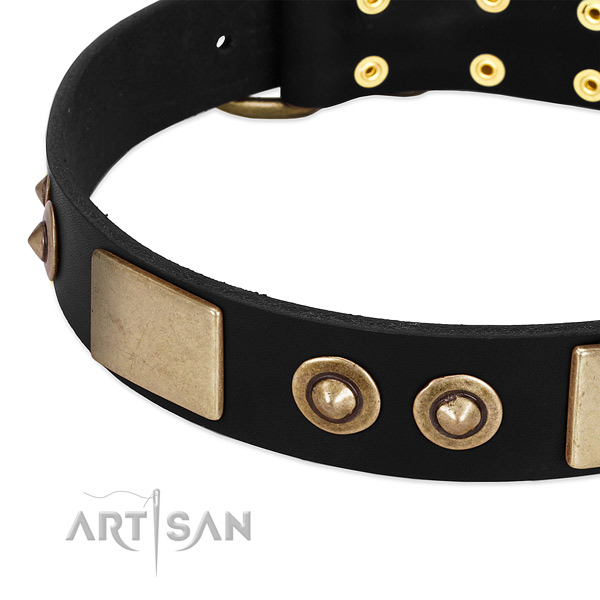 Rust resistant D-ring on full grain leather dog collar for your four-legged friend