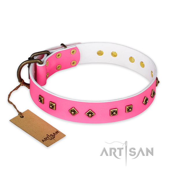 Top notch full grain leather dog collar with corrosion resistant buckle