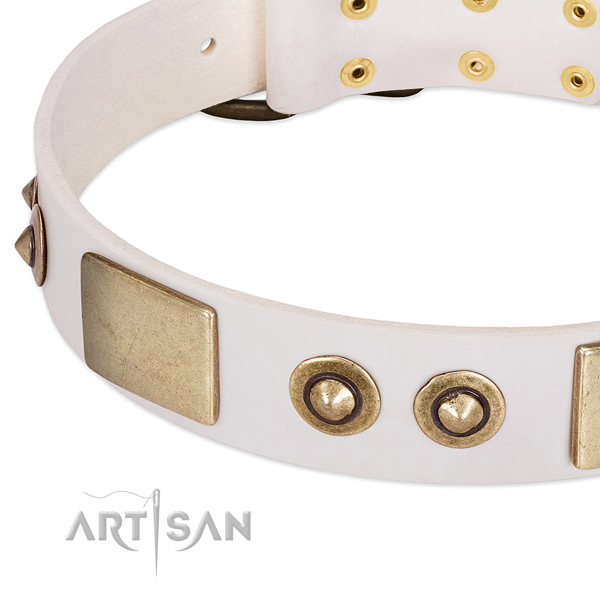 Rust-proof hardware on full grain natural leather dog collar for your doggie