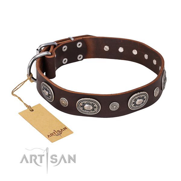 Reliable natural genuine leather collar made for your pet