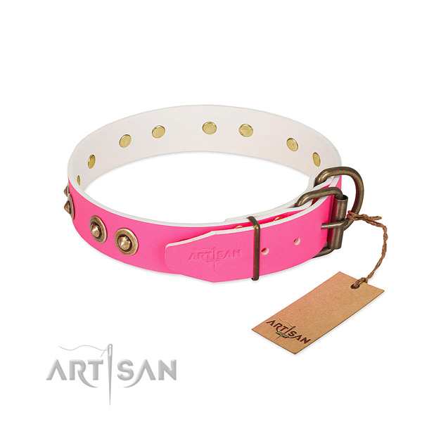Natural genuine leather dog collar with rust resistant D-ring and studs