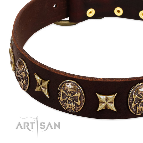 Rust-proof fittings on leather dog collar for your doggie