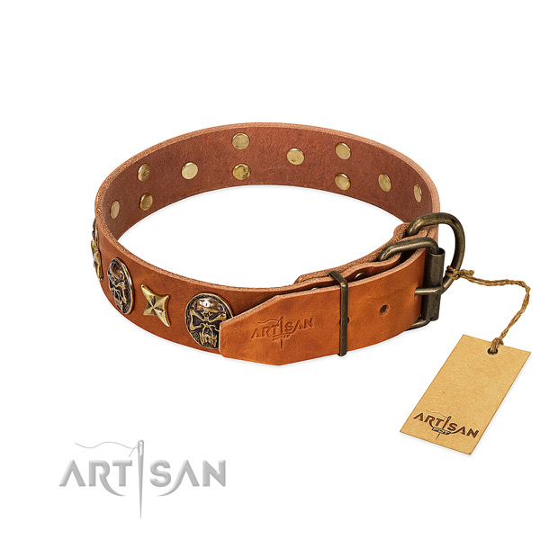 Genuine leather dog collar with reliable traditional buckle and decorations
