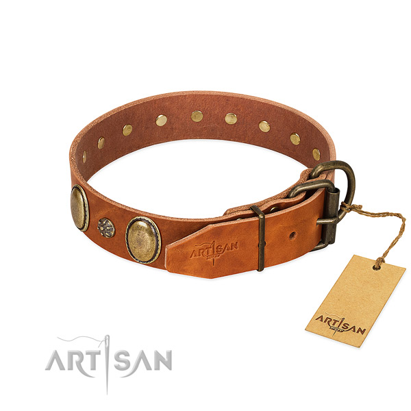 Comfortable wearing flexible full grain genuine leather dog collar