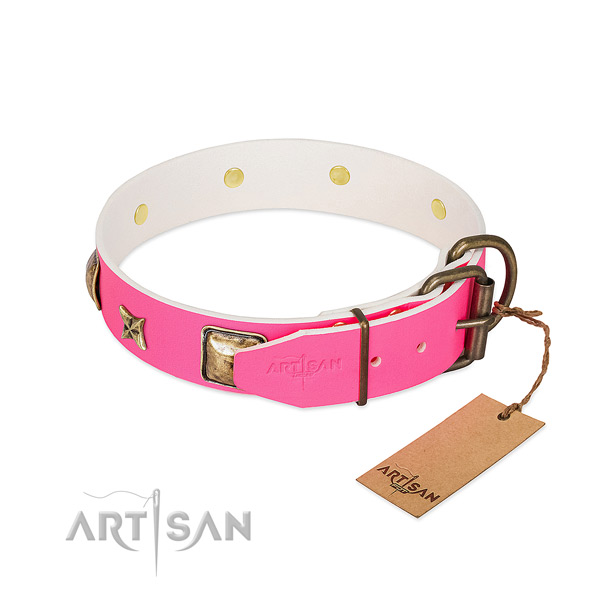 Rust resistant traditional buckle on full grain genuine leather collar for everyday walking your canine