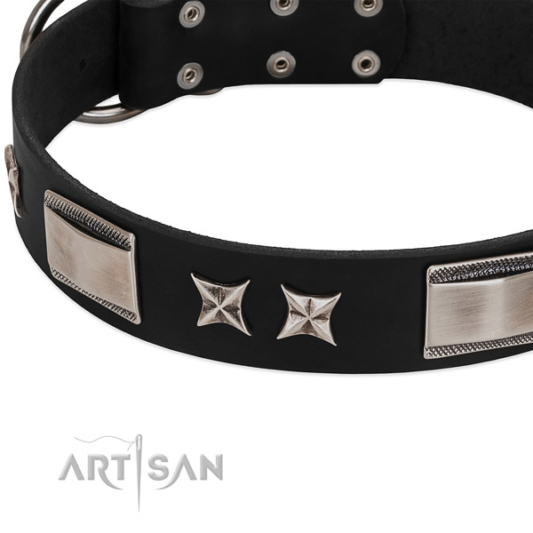 Gentle to touch full grain leather dog collar with durable D-ring