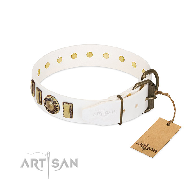 Flexible full grain leather dog collar crafted for your canine