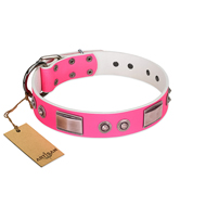 """Lady's Whim"" FDT Artisan Pink Leather Golden Retriever Collar with Plates and Spiked Studs"