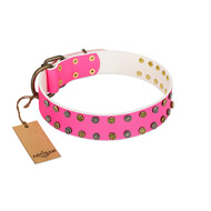 """Blushing Star"" FDT Artisan Pink Leather Golden Retriever Collar with Two Rows of Small Studs"