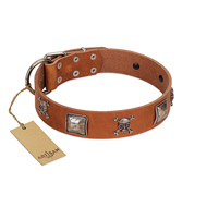 """Amorous Escapade"" Embellished FDT Artisan Tan Leather Golden Retriever Collar with Chrome Plated Crossbones and Plates"
