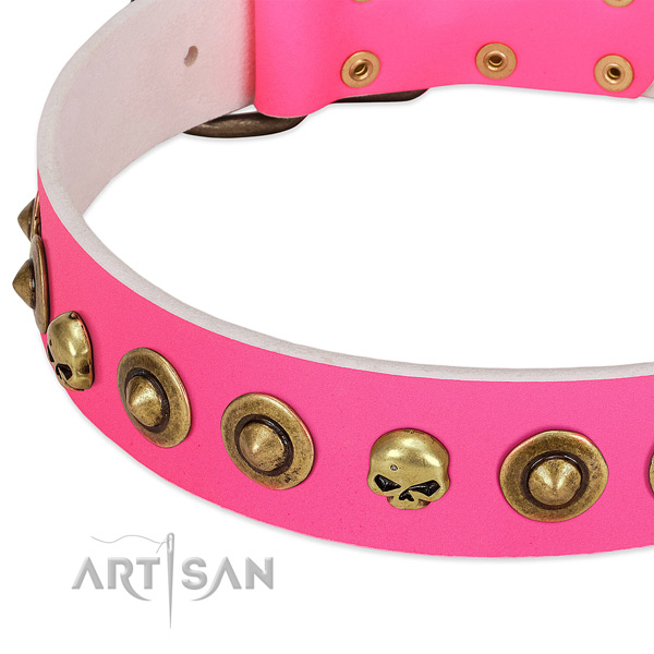 Incredible embellishments on full grain genuine leather collar for your canine