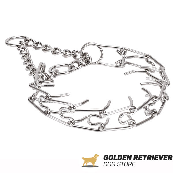 Strong rust resistant dog pinch collar with stainless steel removable prongs