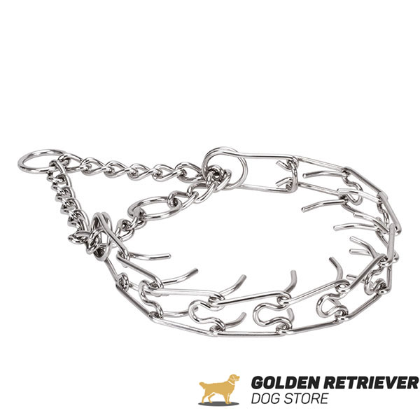 Pinch collar of rust proof stainless steel for aggressive dogs