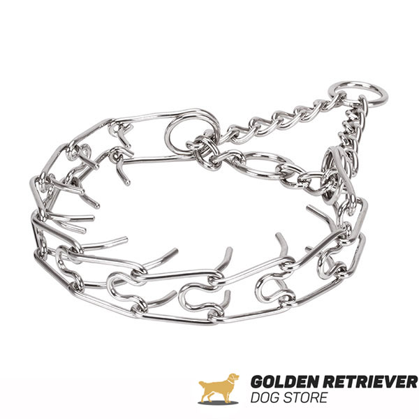 Dog pinch collar of strong stainless steel for large canines