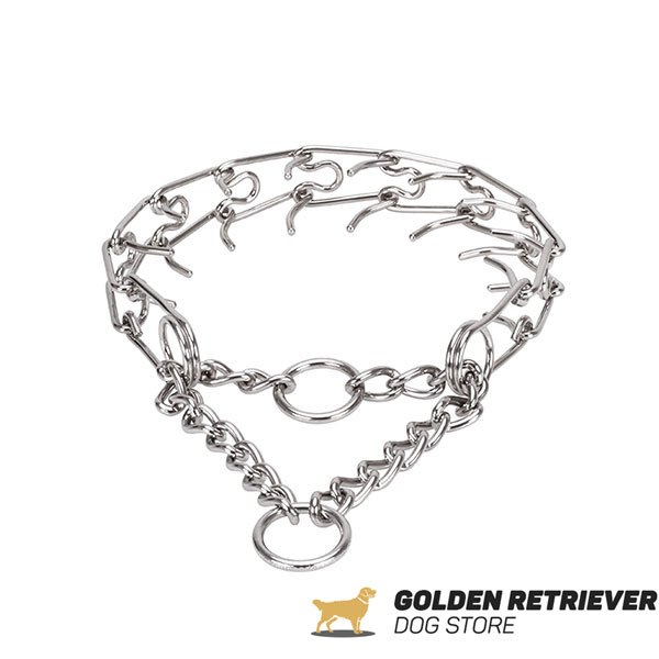 Prong collar of rust resistant stainless steel for ill behaved pets