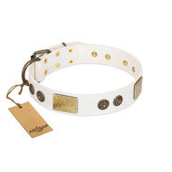 """Sweet Melody"" FDT Artisan White Leather Golden Retriever Collar with Plates and Ornamented Studs"