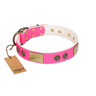 """Queen's Whim"" FDT Artisan Fancy Walking Pink Leather Golden Retriever Collar Adorned with Old Bronze-like Plates and Studs"