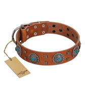 """Blue Sands"" FDT Artisan Tan Leather Golden Retriever Collar with Silver-like studs and Round Conchos with Stones"