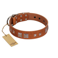 """Egyptian Gifts"" Handmade FDT Artisan Tan Leather Golden Retriever Collar with Chrome-plated Pyramids"