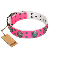 """Pink Delight"" FDT Artisan Pink Leather Golden Retriever Collar for Everyday Walking"