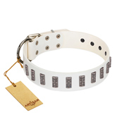 """Heaven's Gates"" Handmade FDT Artisan White Leather Golden Retriever Collar with Silver-Like Engraved Plates"