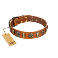 """Strike of Rock"" FDT Artisan Tan Leather Golden Retriever Collar with Plates and Medallions with Skulls"