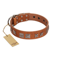 """Antique Figures"" FDT Artisan Tan Leather Golden Retriever Collar with Silver-like Engraved Plates"