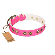 """Bright Delight"" Pink FDT Artisan Leather Golden Retriever Collar with Large Old Bronze-like Plated Studs"