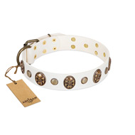 """Fatal Beauty"" FDT Artisan White Leather Golden Retriever Collar with Old Bronze-like Studs and Oval Brooches"