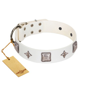 """Vanilla Ice"" FDT Artisan Handmade White Leather Golden Retriever Collar with Silver-like Adornments"