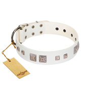 """Pure Quadratic"" Designer Handmade FDT Artisan White Leather Golden Retriever Collar"
