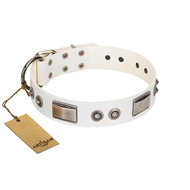 """Good-Luck Piece"" FDT Artisan White Golden Retriever Collar Adorned with Chrome Plated Studs and Plates"