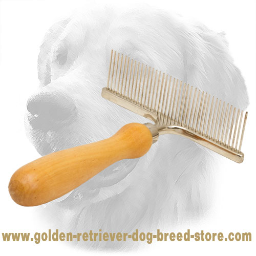 Chrome Plated Golden Retriever Brush with Wooden Handle for Daily Grooming