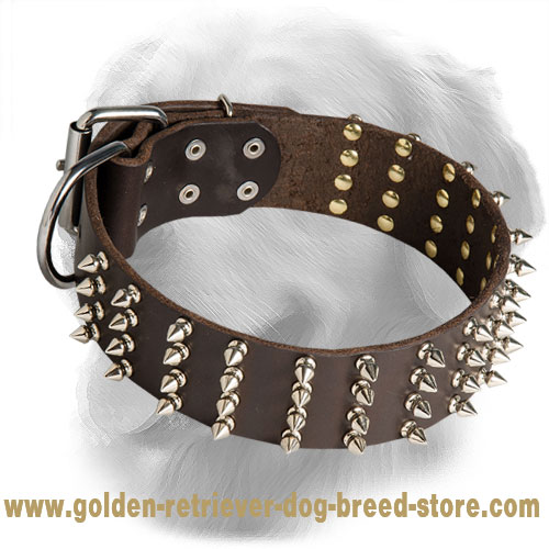 2 Inch Leather Golden Retriever Collar with 4 Rows of Spikes