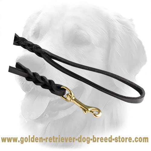 Strong Snap Hook on Leather Golden Retriever Leash