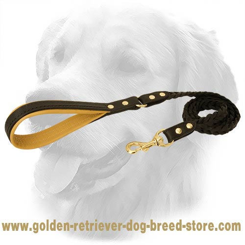 Golden Retriever Dog Leather Leash Braids