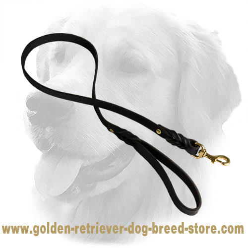 Handmade Leather Golden Retriever Leash Braided