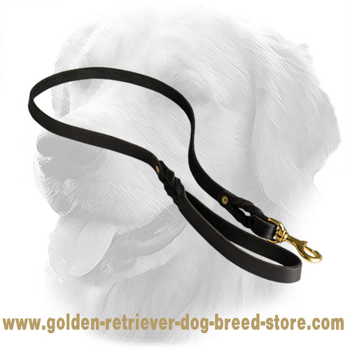 Handmade Leather Golden Retriever Leash with Strong Snap Hook
