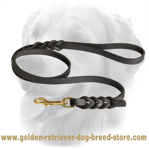Leather Golden Retriever Leash with Fancy Braids