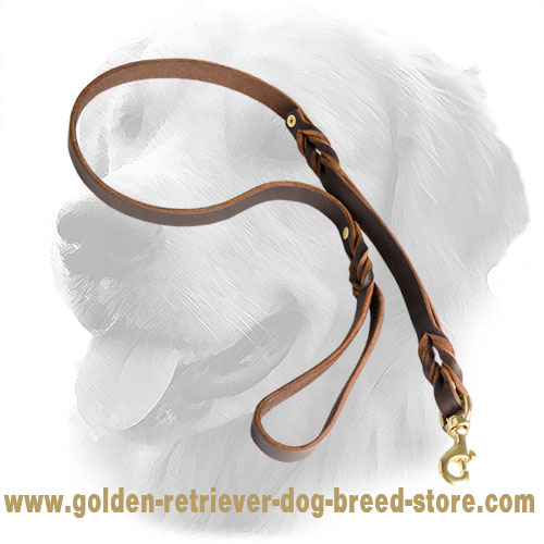 Golden Retriever Leather Leash with Comfortable Handle