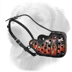 Painted Leather Muzzle For Golden Retriever