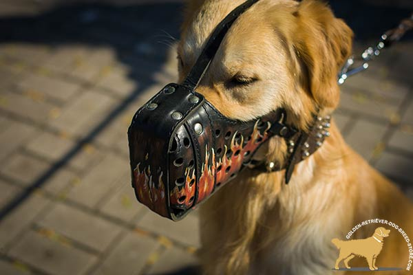 Dog-Safe Leather Golden Retriever Muzzle with Thick Nose Padding